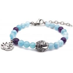 Bracelet STILIVITA en acier - Collection équilibre - PLENITUDE - aigue marine - améthyste - bouddha en acier - fleur de tous …