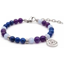 Bracelet STILIVITA en acier - Collection équilibre - SERENITE - lapis lazuli - calcédoine - améthyste - chakra troisième oeil…
