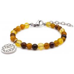 Bracelet STILIVITA en acier - Collection équilibre - CREATIVITE - citrine - tourmaline marron - chakra plexus solaire - 17+4c…