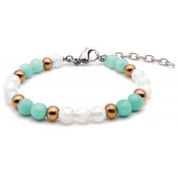 Bracelet STILIVITA en acier - Collection équilibre - FEMINITE - pierre de lune - amazonite - billes acier rosé - 17+4cm