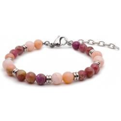 Bracelet STILIVITA en acier - Collection équilibre - POSITIVITE - opale rose - tourmaline rose - séparateurs acier - 17+4cm