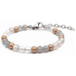 Bracelet STILIVITA en acier - Collection équilibre - LACHER PRISE - Quartz Rose - labradorite - billes acier rosé mattes - 17…