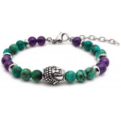 Bracelet STILIVITA en acier - Collection équilibre - ANTI STRESS - turquoise - améthyste - bouddha et séparateur en acier - 1…
