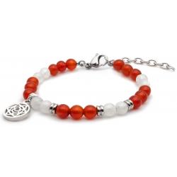 Bracelet STILIVITA en acier - Collection équilibre - SUPER WOMAN - pierre de lune - cornaline - séparateurs acier - chakra sa…