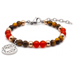 Bracelet STILIVITA en acier - Collection équilibre - VOLONTE & CONFIANCE EN SOI - œil de tigre - cornaline - chakra plexus so…