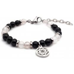 Bracelet STILIVITA en acier - Collection équilibre - COURAGE & FORCE - Quartz rose - tourmaline noire - chakra racine  - 17+4…