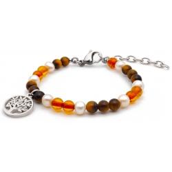 Bracelet STILIVITA en acier - Collection équilibre - PROTECTION - perle - œil de tigre - ambre - arbre de vie  - 17+4cm