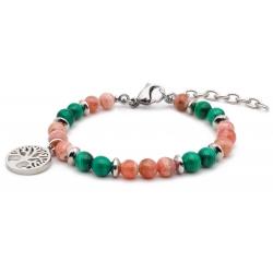 Bracelet STILIVITA en acier - Collection équilibre - DYNAMISME - rhodocrosite - malachite - arbre de vie  - 17+4cm