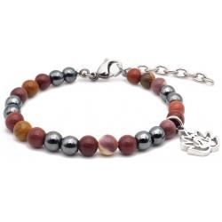 Bracelet STILIVITA en acier - Collection équilibre - ASCENSION & DEBLOCAGE - mookaite - hématite - fleur de tous en acier  - …
