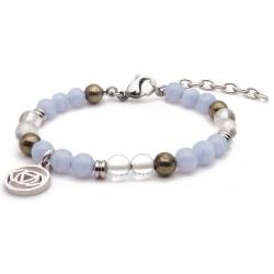 Bracelet STILIVITA en acier - Collection équilibre - CLARTE D'ESPRIT - calcédoine - cristal de roche - pyrite  - séparateurs …