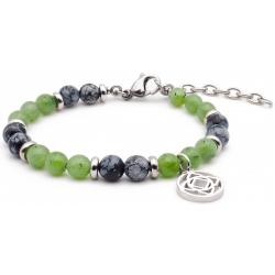 Bracelet STILIVITA en acier - Collection équilibre - ANCRAGE ET PROSPERITE - obsidienne neige  - jade néphrite - séparateurs …