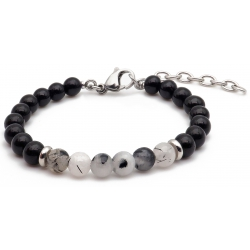 Bracelet STILIVITA en acier - Collection équilibre - PROTECTION ET BIEN ETRE - tourmaline noire - quartz tourmaliné - séparat…