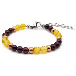 Bracelet STILIVITA en acier - Collection équilibre - ENERGIE - citrine - grenat - billes acier rosé - 17+4cm