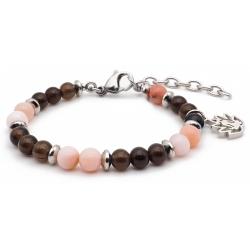 Bracelet STILIVITA en acier - Collection équilibre - AUTHENTICITE - opale rose - quartz fumé - séparateur acier - fleur de to…