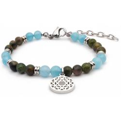 Bracelet STILIVITA en acier - Collection équilibre - EQUILIBRE - tourmaline verte - aigue marine - séparateurs acier -  chakr…