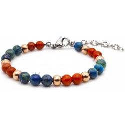 Bracelet STILIVITA en acier - Collection équilibre - INTUITION & ELEVATION - jaspe rouge - azurite - billes acier rosé - 17+4…