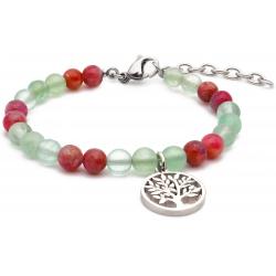 Bracelet STILIVITA en acier - Collection équilibre - AMOUR & SPIRITUALITE - fluorite - tourmaline rose - arbre de vie en acie…
