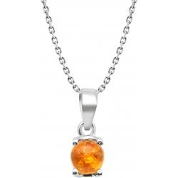 Collier argent rhodié 3,7g - ambre rond 6mm cabochon - 38+5cm