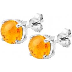 Boucles d'oreille argent rhodié 1,7g - ambre rond 6mm cabochon