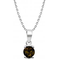 Collier argent rhodié 3,7g - quartz fumé rond 6mm facetté - 38+5cm