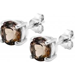 Boucles d'oreille argent rhodié 1,7g - quartz fumé rond 6mm facetté