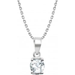 Collier argent rhodié 3,7g - cristal de roche rond 6mm facetté - 38+5cm