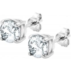 Boucles d'oreille argent rhodié 1,7g - cristal de roche rond 6mm facetté