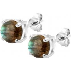 Boucles d'oreille argent rhodié 1,7g - labradorite - rond 6mm cabochon