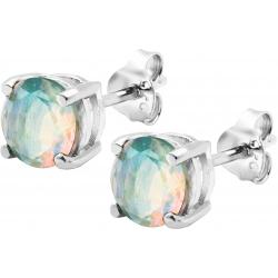 Boucles d'oreille argent rhodié 1,7g - opale noble d'éthiopie - rond 6mm facetté