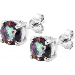 Boucles d'oreille argent rhodié 1,7g - quartz mystic - rond 6mm facettée