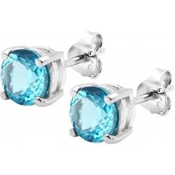 Boucles d'oreille argent rhodié 1,7g - Topaze bleue Suisse - rond 6mm facettée