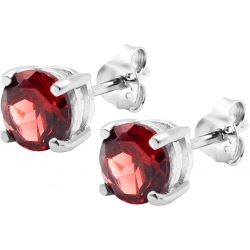 Boucles d'oreille argent rhodié 1,7g - grenat - rond 6mm facettée