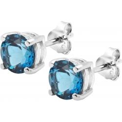 Boucles d'oreille argent rhodié 1,7g - Topaze bleue London - rond 6mm facettée