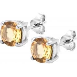Boucles d'oreille argent rhodié 1,7g - citrine - rond 6mm facettée