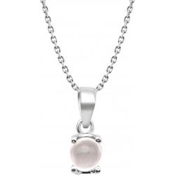 Collier argent rhodié 3,7g - quartz rose - rond 6mm cabochon - 38+5cm