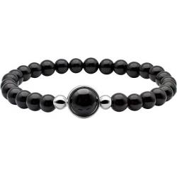 Bracelet élastique - billes onyx  6mm - cabochon acier et onyx 11mm - longueur 1