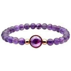 Bracelet élastique - billes améthyste 6mm - cabochon acier rosé et améthyste 11m