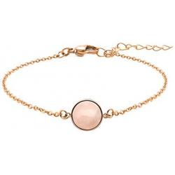 Bracelet en acier rosé - cabochon quartz rose - 11mm - 16+4cm