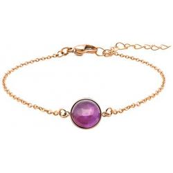 Bracelet en acier rosé - cabochon améthyste - 11mm - 16+4cm