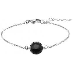 Bracelet en acier - cabochon onyx - 11mm - 16+4cm
