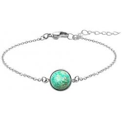Bracelet en acier - cabochon chrysocolle - 11mm - 16+4cm