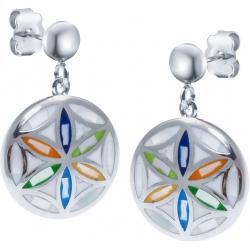 Boucles d'oreille acier - nacre - émail - fleur de vie
