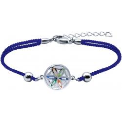 Bracelet acier - nacre - émail - fleur de vie - coton - 16+4cm