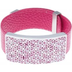 Bracelet acier - émail - nacre - fleur de vie - cuir rose - largeur 2cm - longueur 23,5cm