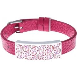 Bracelet acier - fleur de vie - émail - nacre - cuir rose - largeur 1cm - bracelet montre réglable