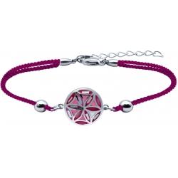 Bracelet acier - nacre - émail - fleur de vie - coton rose - 16+4cm
