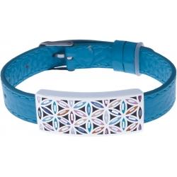 Bracelet acier - fleur de vie - émail - nacre - cuir bleu - largeur 1cm - bracelet montre réglable