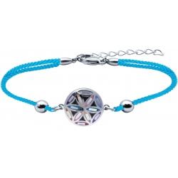 Bracelet acier - nacre - émail - fleur de vie - coton bleu - 16+4cm
