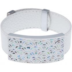 Bracelet acier - émail - nacre - cuir blanc - largeur 2cm - longueur 23,5cm