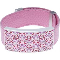 Bracelet acier - émail - nacre - cuir rose - largeur 2cm - longueur 23,5cm
